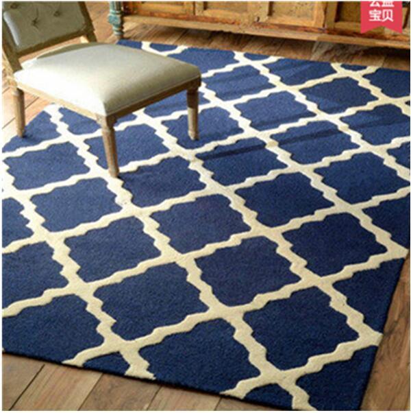 Rectangle moderne acrylique grand tapis pour salon chambre tapis bleu design chambre mode tapis personnalisé ajustement chambre tapis