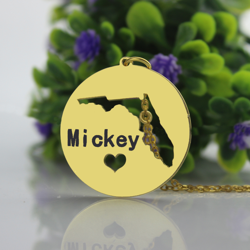 Nameplate State Bar Necklace Gold Color Florida Necklace I heart My Place of Birth Everyday Necklace Cut Out State Charm
