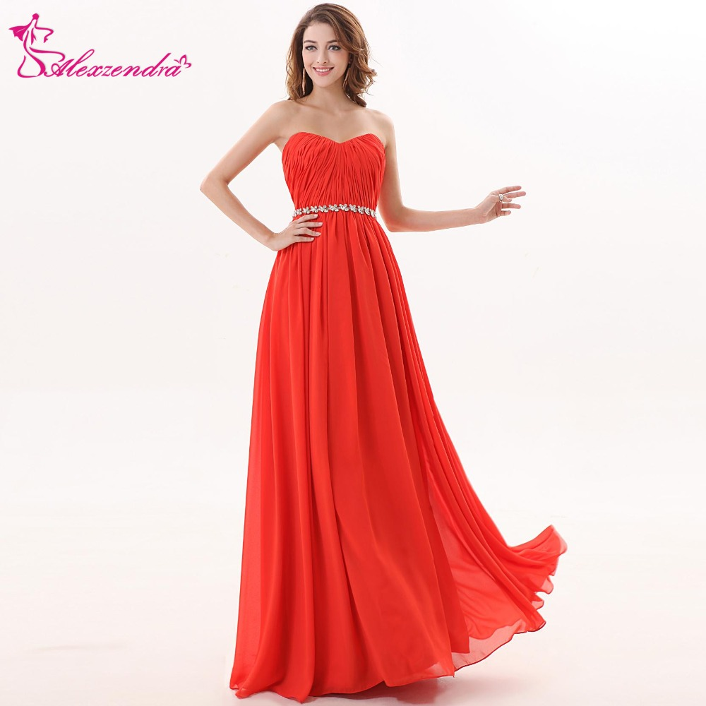 Alexzendra A Line Chiffon Orange Bridesmaid Dress for Wedding Sweetheart Party Gown Custom Made