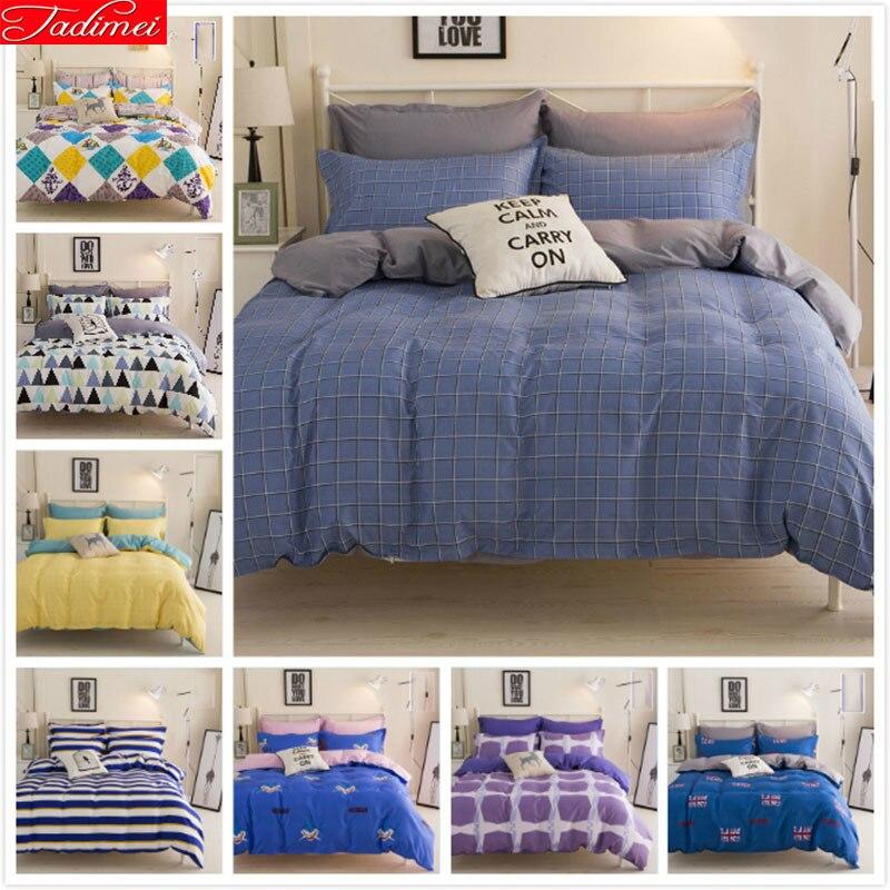 Power Source 4pcs Bedding Sheet Full King Queen Twin Double Size Bed Sheet 1.5m 1.8m 2m 2.2m Duvet Cover Pillowcase Child Kids Plaid Bedlinen