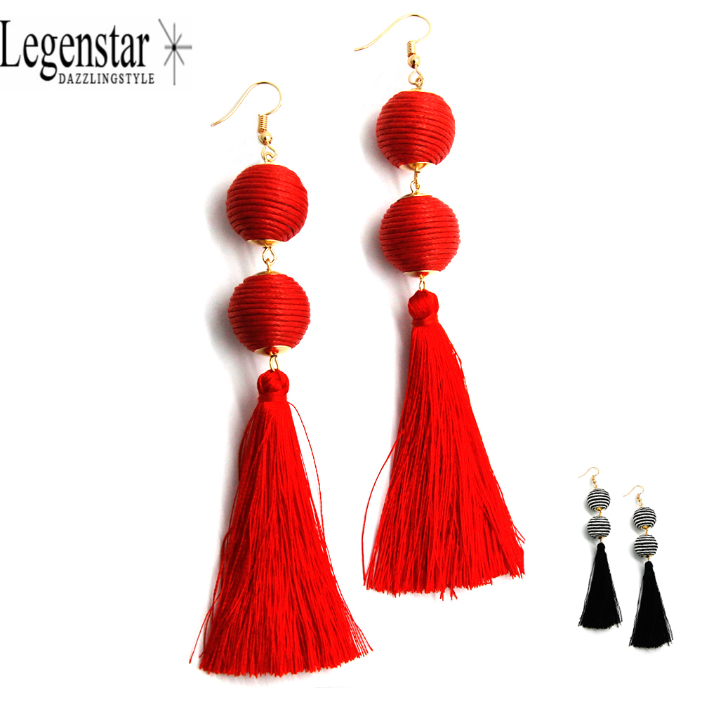 Legenstar 2017 New Fringed Statement Earrings Wedding Tel Red Color Thread Ball Hot Fashion Drop Dangle Earring Jewelry Women