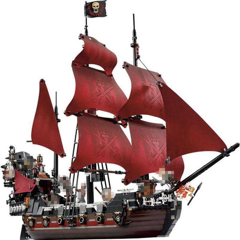 New LEPIN 16009 1151PCS Queen Anne's Revenge Pirates Of The Caribbean Model Ship Compatible Blocks Toys Gift With 4195 lepin 22001 imperial warships 16006 black pearl ship 16009 queen anne s revenge pirates series toys clone 10210 4184 4195