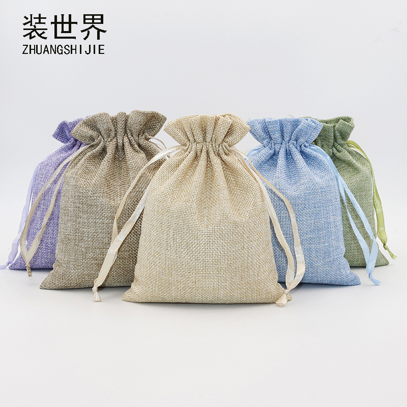 5Pcs 16x20cm Linen Drawstring Pouch Jewelry Bag Logo Printed Jute Pouch Christmas-Wedding Party Cand