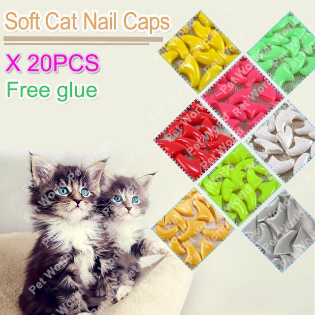 20pcs / bag Soft Cat Nail Caps / Cat Nail Cover / Paw caps / Pet Nail Protector with free Adhesive Glue Size XS S M L