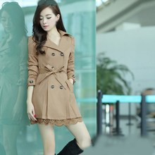 9 Colors Autumn Women Long Trench Coat Sleeve Double Breasted Lace Outerwear