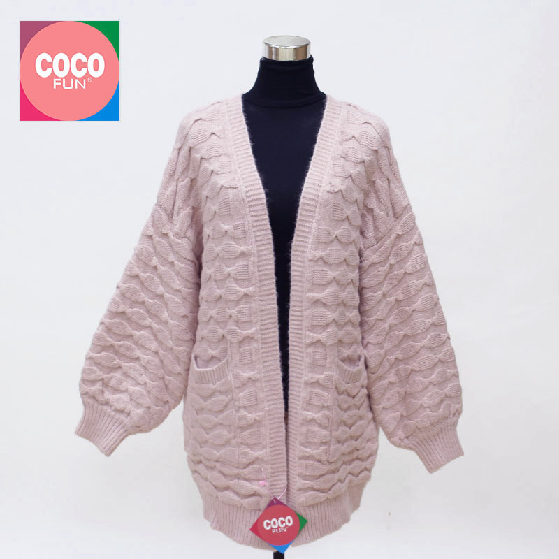2019 New Style 2019 Spring Women Wool Cardigan Soft Knitted Open Front Geometric Pattern Long Sleeve Drop Shoulder Acrylic Yarn Sweater Coocfun Women's Clothing Sweaters