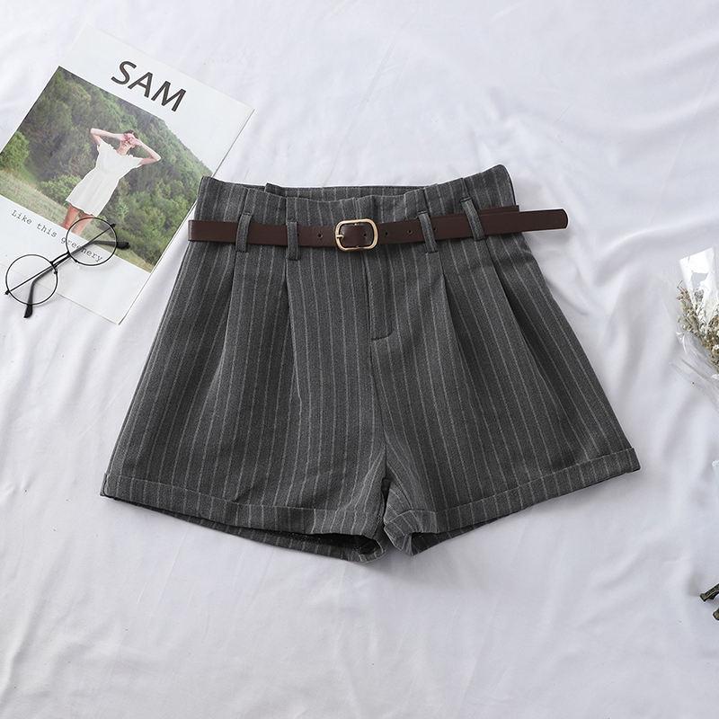 Pantalones Cortos Elegantes Para Mujer Shorts Informales De Algodon Rayados Holgados Con Cinturon De Cintura Alta Ajustados Novedad De 2019 Cerstyle Me