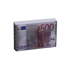 500 Euro Colorful 999.9 Silver Plated Banknote Playing Card for Family Games Personalized Gift