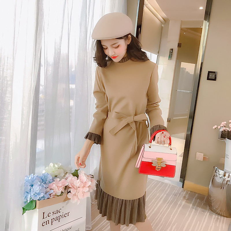 Round Series Solid Spring Stitching Neck Brown Color Thick Bodycon Knitted Ym173 Dress Street Long 2018 Female Sleeve champagne Autumn qBBw0pIx