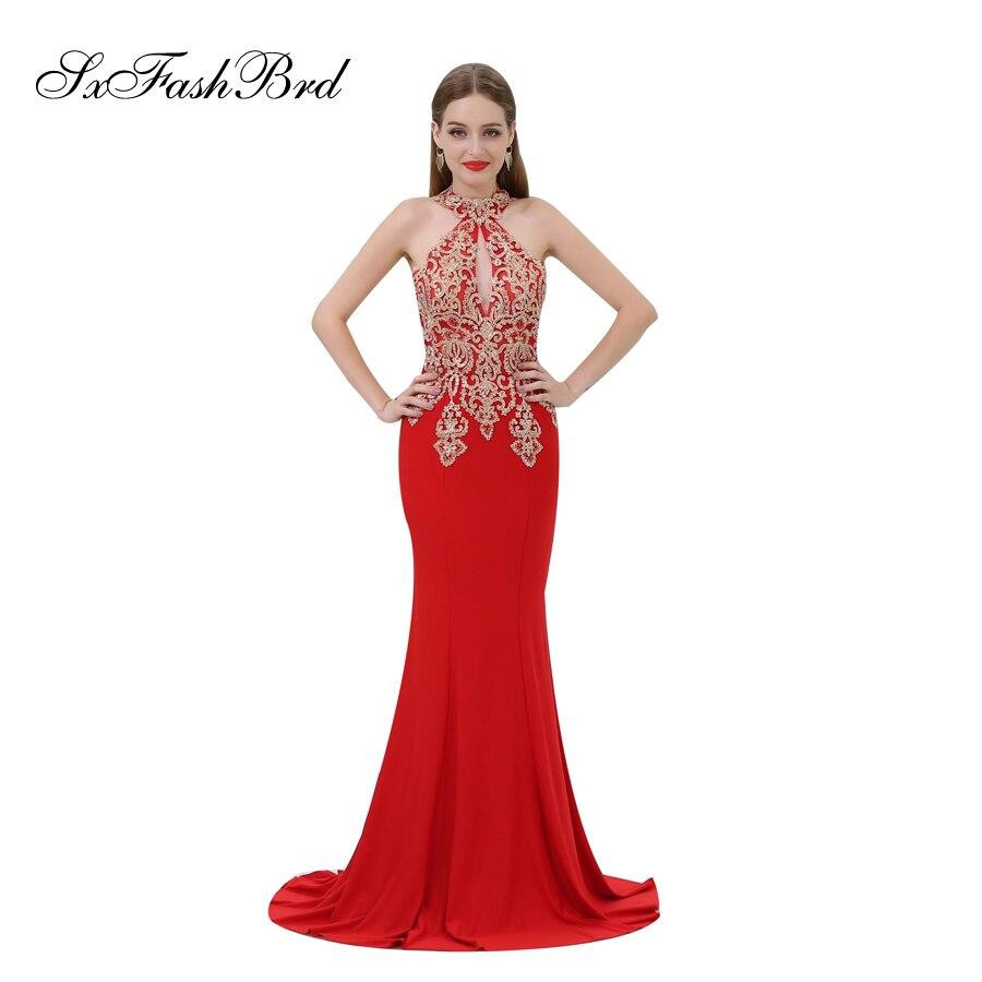 Robe De soirée Femme Pour Mariage Appliques licou sirène Satin Robe élégante longue formelle femmes robes De soirée Robe De bal