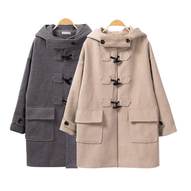 2018 Corne Hiver Cachemire Boucle Gris Laine Solide Long Manteau kaki Mode Veste Femmes Longues Lâche Casual 4qg0vwO