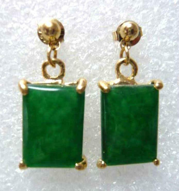 4 สี! Fine light สีเขียว/สีเขียว/สีดำต่างหูหยกธรรมชาติ