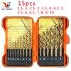 QSTEXPRESS 15Pcs/Set 1.5-10mm Park Shank HSS-Co 5% M35 Cobalt Twist Drill Spiral Drill Bit