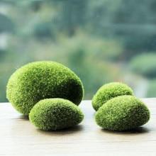 1 упаковка Зеленые искусственные камни покрытые мхом травы растения бонсай стекаются Ложные газон микро Ландшафтные украшения аксессуары