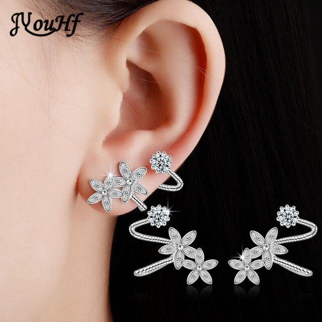 JYouHF 2018 Luxury Flower Stud Earrings for Women White/Rose Gold Color with AAA Zircon Stone Earrings Female Oorbellen Jewelry