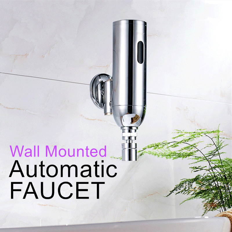 Chrome Plated Wall Mounted Automatic Sensor Faucets Single Cold Water Sense Faucet Basin Hand Washer DC6V(AAA batteries) niko 50pcs chrome single coil pickup screws