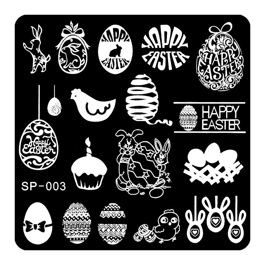 Feliz Pascua Manicura estampación imagen plantilla manicura ...