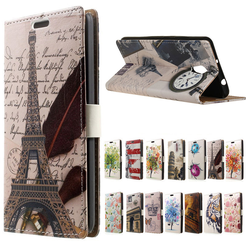 Delicate Eiffel Tower Clock Leather Wallet flip with Stand Cover Case For Meizu Pro 6 Plus Mobile Phone Case Coque Funda Bags