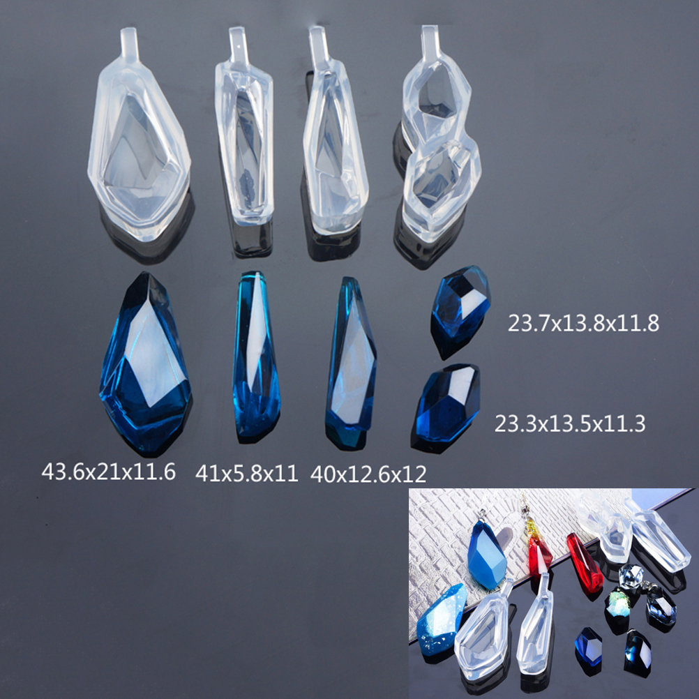 Resin Molds For Jewelry Transparent Silicone Diamond Cut Surface Pendant Mould For Resin DIY Mould Jewelry Making Tool