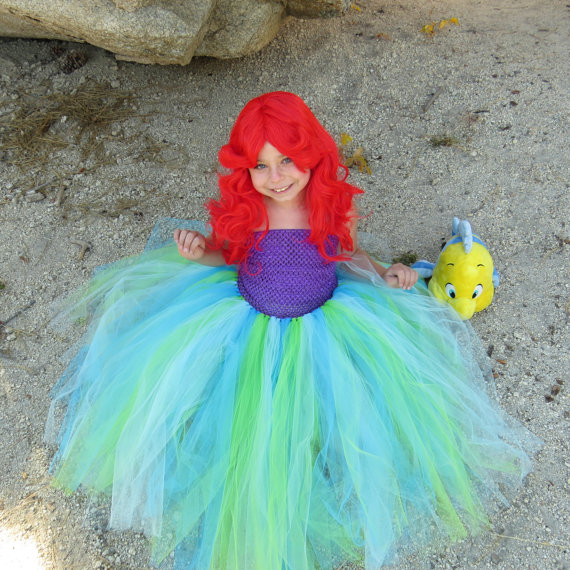 My mermaid girl Social outfit Fluffy Tulle ball gown Bella angel fish dress my 1st halloween 4th of July double ruffle dress social evolution