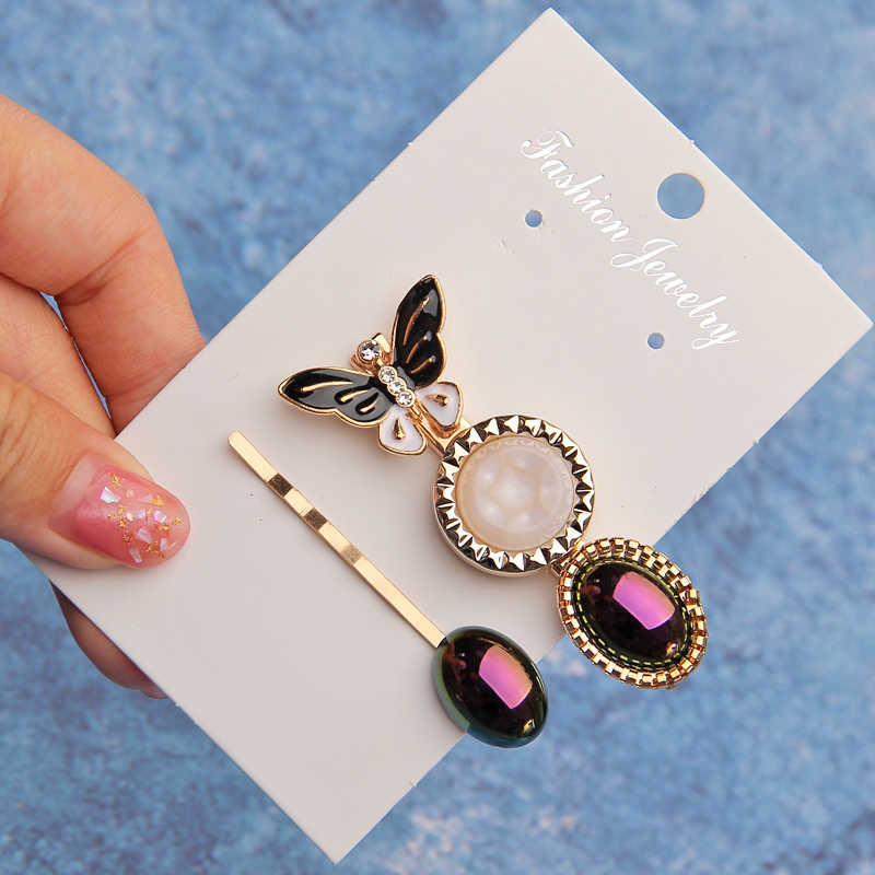 ZOSHI 2019 Women Barrettes Set Pearl Hair Clip Pins Gold Fashion Candy Color Butterfly Hair Accessories Mujer Headwear Oranment