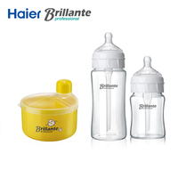 Haier Brillante Baby Feeding Milk Bottle Crystal Glass Nursing Child Feeder Anti Colic Bottle 4 Grid