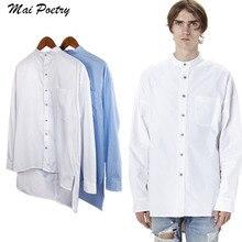 2017 New  Mai Poetry Men's summer Hipster Hip hop High street Basic lattice Long sleeves shirt  longline Hem Simple shirt