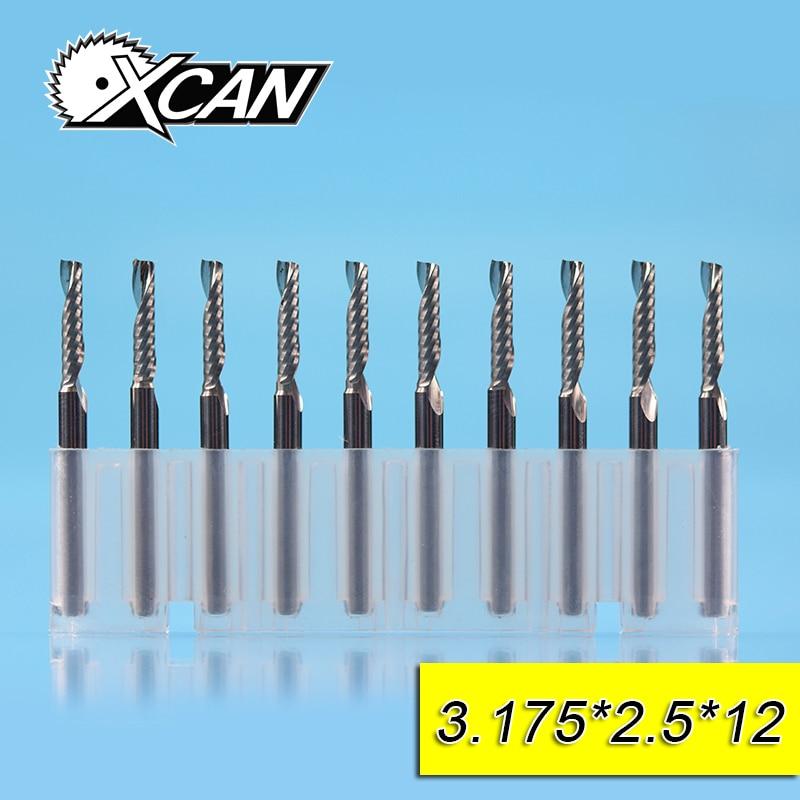 цена на XCAN 10 Piece Diameter 2.5mm Shank 1/8Inch Tungsten Steel One Flute Spiral Router Bit Carbide End Mills CNC End Milling Cutter