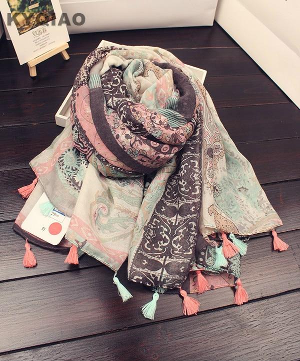 KYQIAO 2018 Femmes hijab écharpe femelle automne hiver long Japonais style  frais Art Style imprimer écharpe f576d99eab7