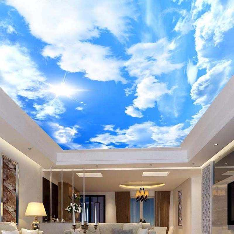 Custom 3D Photo Wallpaper Mural Papel De Parede Blue Sky White Clouds Sun Sunshine Large Mural Wallpaper For Ceiling Decoration