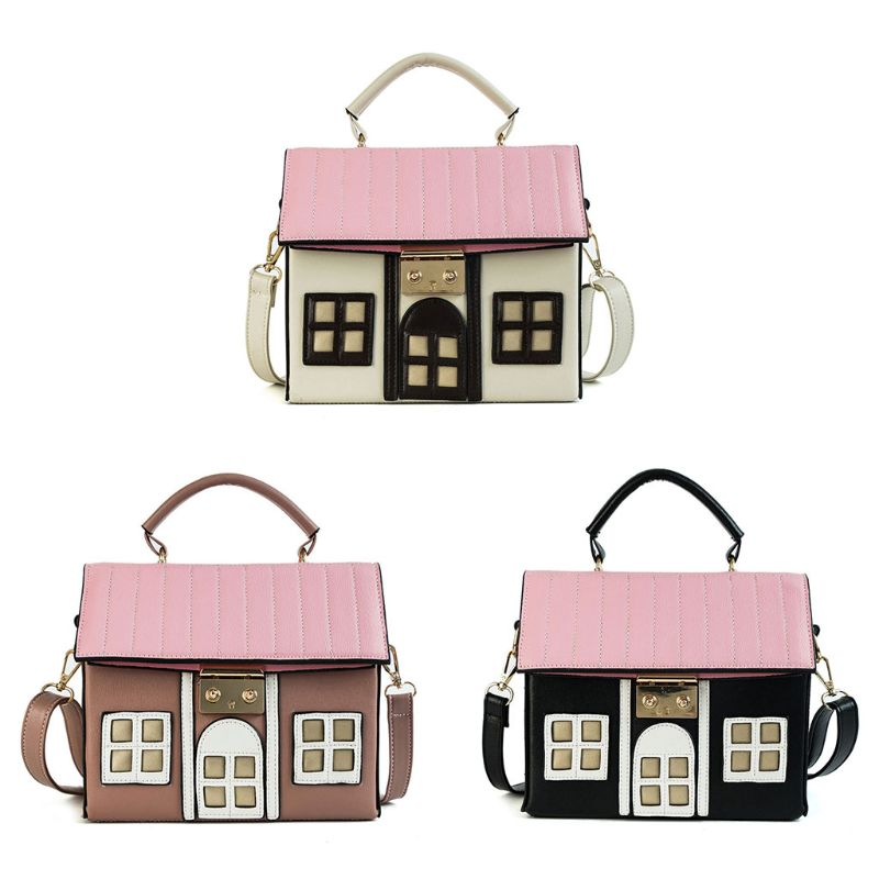Women Personality House Shaped Messenger Bags PU Leather Crossbody Shoulder Bag For Ladies Girl Casual Mini Handbag