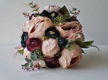 Peony Bridal Bouquet, Silk Blush Vintage Wedding flowers Rustic  Chic bouquet Bride Bridesmai