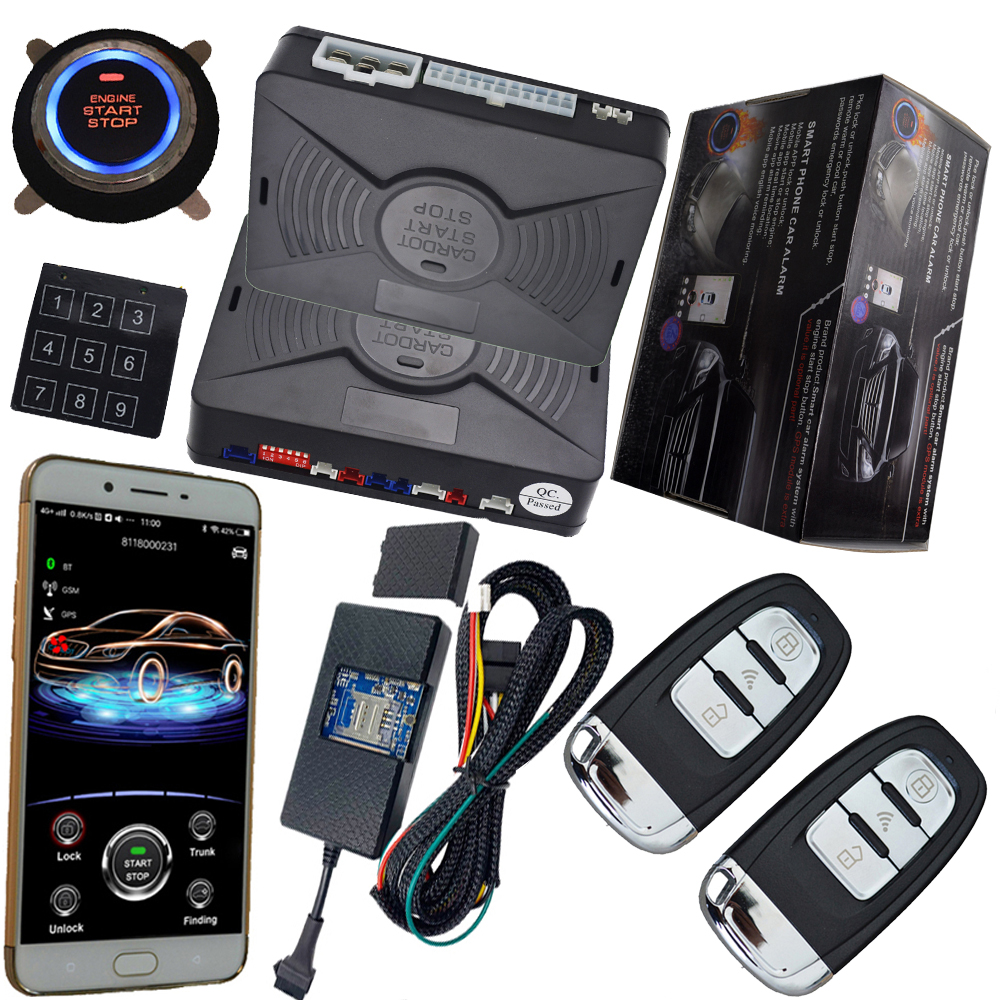 mobile app smart pke auto car alarm system with gps online real time tracking auto central