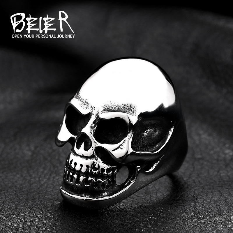 Beier new store 316L Stainless Steel ring high qualitybiker men pun skull fashion jewelry LLBR8-025R US size