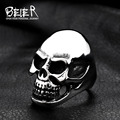 Beier new store 316L Stainless Steel ring high qualitybiker  men pun skull fashion jewelry BR8-025 US size
