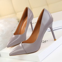 Women Fashion PU Shallow High Heel Pointed Toe Pumps Shoes OL Ladies Spring/Autumn Slip-On 9CM Thin Heel Office Party Pump Shoes spring autumn women pumps women s shoes genuine leather high heel thin heels pointed toe fashion party slip on shallow solid