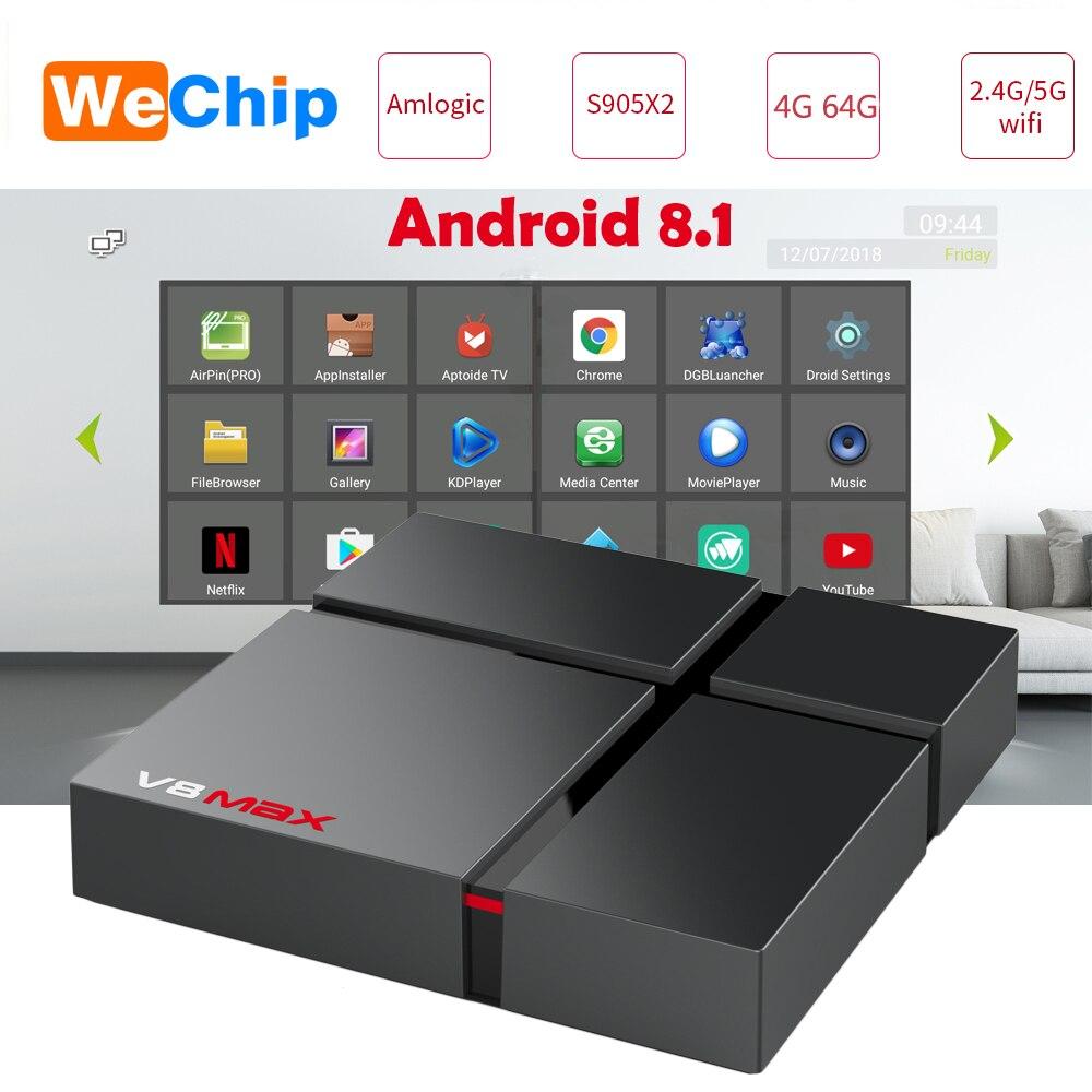 V8 Max Intelligent Android 8.1 TV Box 4 GB 64 GB Amlogic S905X2 LPDDR4 2.4G + 5G Double wifi BT 4.0 100 M 4G 32G lecteur multimédia PK X96 max X88