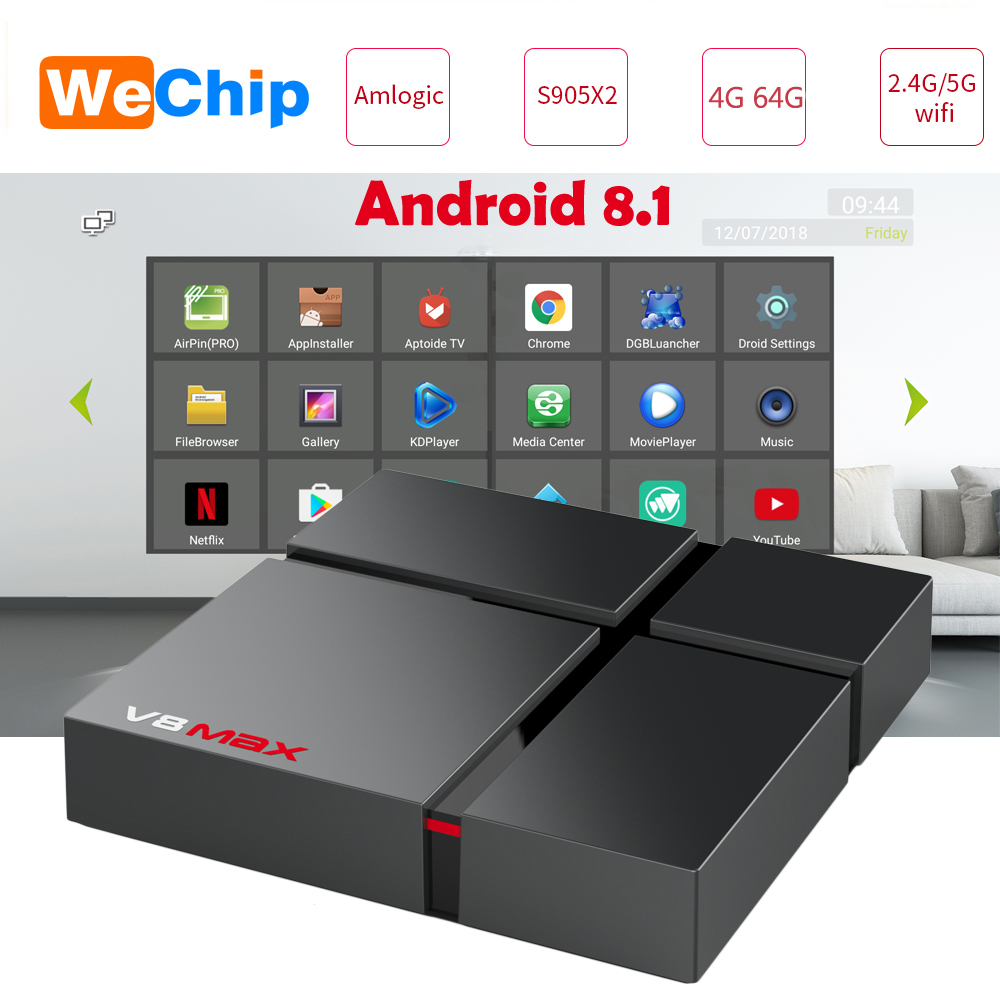 V8 Max Smart Android 8.1 TV Box 4 GB 64 GB Amlogic S905X2 LPDDR4 2.4G + 5G double Wifi BT 4.0 100 M 4G 32G lecteur multimédia PK X96 max X88