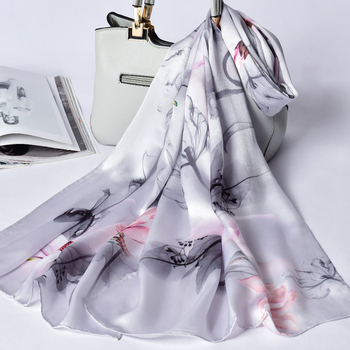 100% Silk Scarf For Women Long Print Luxury Natural Silk Shawls Wraps Blue Floral Spring Ladies Neckscarf Pure Real Silk Scarves