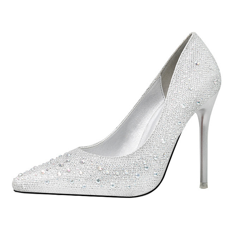 2018 Spring Autumn Rhinestone High Heels Cinderella Shoes Women Pumps  Pointed Toe Woman Crystal Wedding Shoes Slip On Heel 8Cm -in Women s Pumps  from Shoes ... cde906e772a8