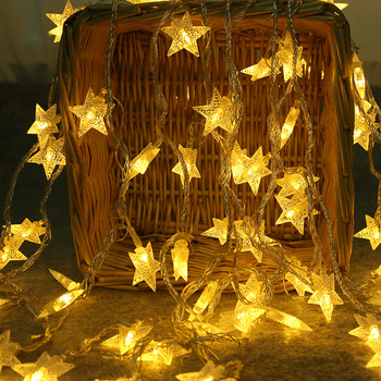 20 To 40 Stars Led String Light 3M-6M Length Strip Battery Box Powered For Party Home Kid's Room Holiday Christmas Decoration фото