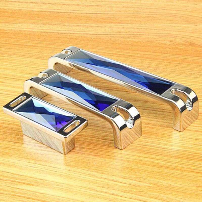 160mm 128mm top quality deluxe K9 blue crystal wardrobe wine cabinet dresser door handle silver chrome drawer tv table knob 5