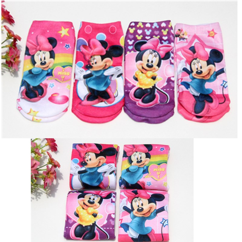6pairs Children girl sock cotton children socks girl kid cartoon beautiful minnie socks  ...