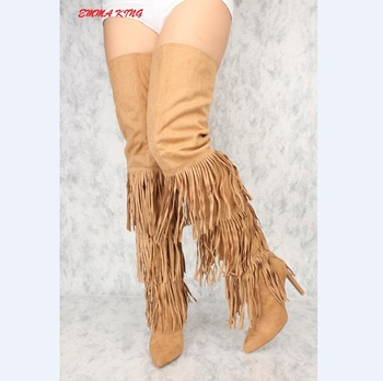 2018 New Tassel Women Thigh High Boots Side Zipper Suede Ladies High Heels Shoes Women Over The Knee Long Boots Chaussure