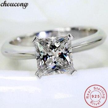 22c74c321076 Choucong cuatro garras promesa anillo 925 plata esterlina 0.8ct AAAAA Zircon  Sona cz compromiso de boda anillos para las mujeres joyería