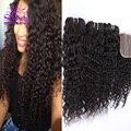 Sin procesar Virginal Peruana 1 Unids Libre Parte Lace Closure Con 3 Unids Curly Hair Bundles Pelo Peruano de la Virgen de la Onda Profunda 8-30 pulgadas