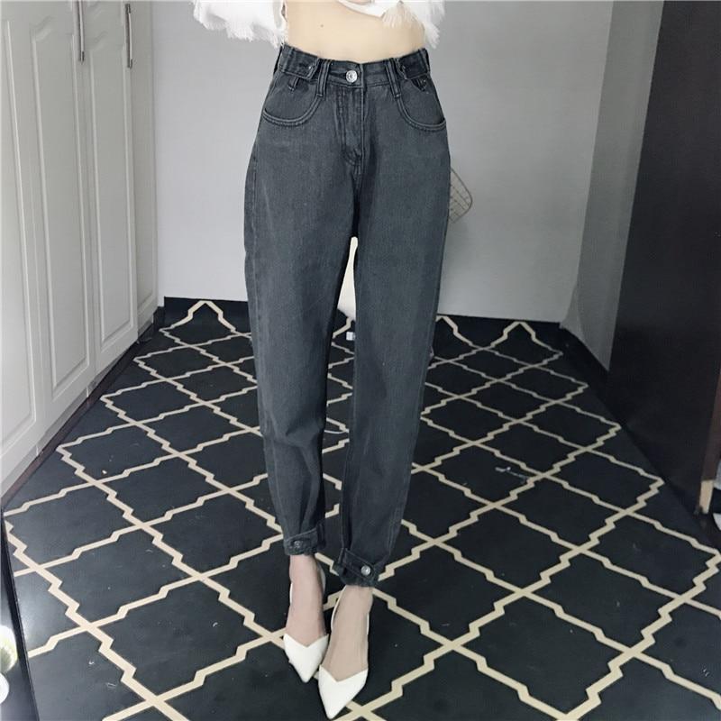 JUJULAND 2018 Vintage Black Boyfriend   Jeans   For Women High Waist Denim   Jeans   Vintage Slim Mom Pencil   Jeans   Woman Denim Pants