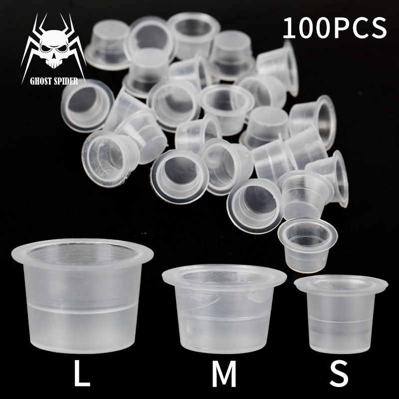 GHOST SPIDER 100 stuks Wegwerp Plastic Tattoo Ink Cups Permanente Make-Up Pigment Clear Houder Container Cap Tattoo Accessoire