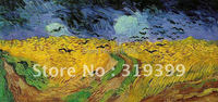 Vincent Van Gogh Oil Painting reproduction on linen canvas,Wheatfield with Crows,1890 ,100%handmade,DHL Shipping,museum quality