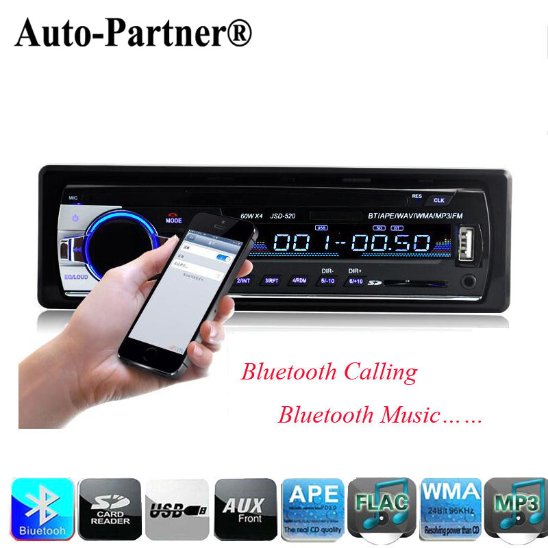 Car Radio MP3 Stereo Player Bluetooth Phone AUX-IN MP3 FM USB 1-Din remote control 12V Car Audio Free Shipping